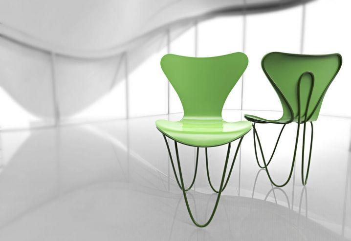 Tinta verde acido e gambe formate da una spirale che avvolge anche lo schienale per la sedia Series 7 reinterpretata da Zaha Hadid