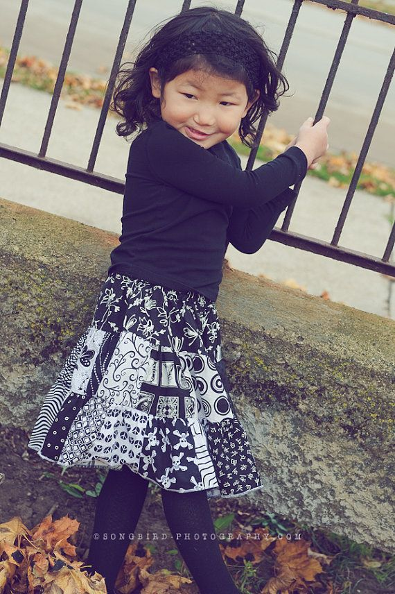 black and white  twirl patchwork skirt 2T  6 by GenerationsInStyle, $28.00