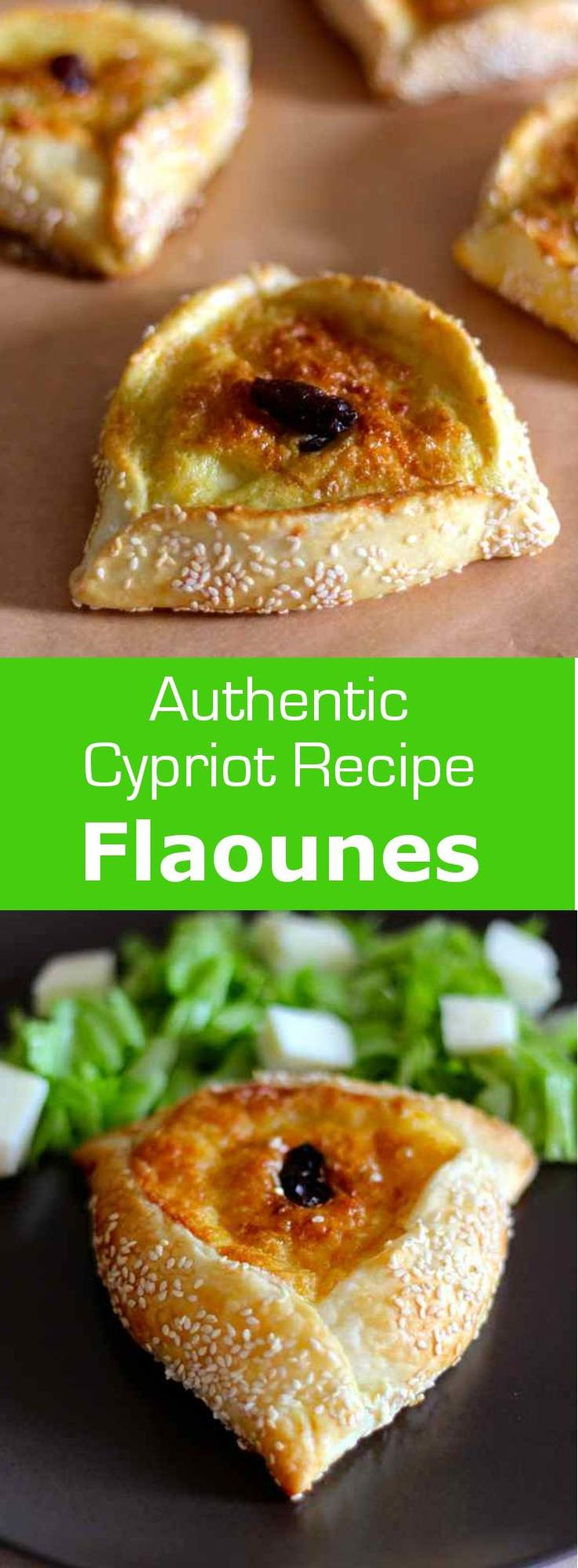 Flaounes are small traditional savory buns, stuffed with halloumi, prepared the week before Easter in Cyprus. #vegetarian #cyprus #cheese