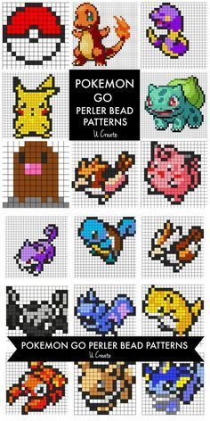 DIY 21 Pokemon Perler Beads Patterns For more Perler Beads DIYs go here: unicornhatparty.com/tagged/perler-beads U Create Crafts has listed 21 Pokemon Perler Beads Patterns on their site here. • Pokeball • Charmander • Ekans • Pikachu • Bulbasaur •...