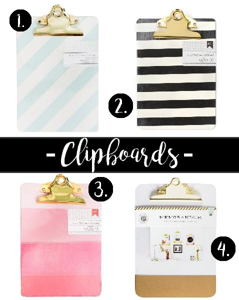 Chic clipboards for your workspace! #chic #feminine #workspace #homeoffice