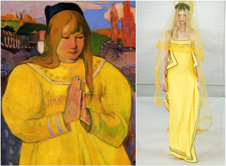 В Париже завершается Неделя высокой моды. Вспоминаем самые яркие образы с показов и находим похожие наряды на знаменитых картинах.