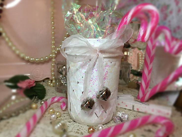 Shabby Chic Christmas Cottage White Mason Jar Quilted Iridescent Glitter Organza Bow Silver Bells Xmas Decor Decorations Centerpiece Vase by SweetVintageDesignCo on Etsy