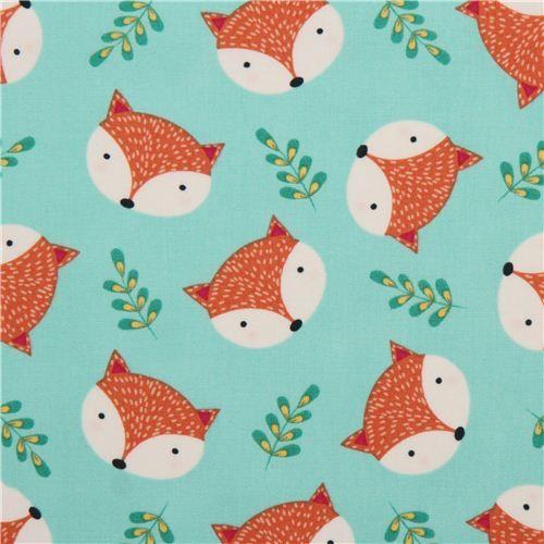 mint green fox leaf animal fabric Timeless Treasures USA 2