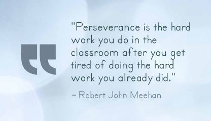 """Perseverance is the hard work you do in the classroom after you get tired of doing the hard work you already did."" Robert John Meehan"