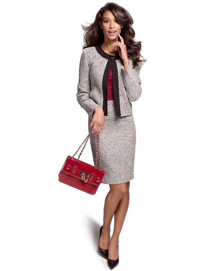 kasper collarless tweed jacket pencil skirt womens