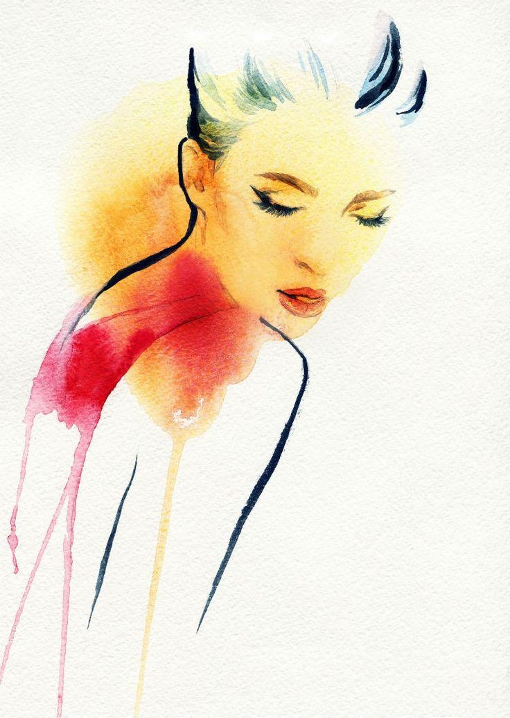 Beautiful Woman Face. Watercolor illustration, por Anna Ismagilova // Stock…