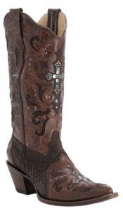 Corral Brown Cognac w/ Python & Crystal Cross Snip Toe... OMG: Cowgirl Boots, Cowgirl Thing, Boots Galore, Cowboy Boots, Country Girl, Western, Brown, Hair Makeup Clothes