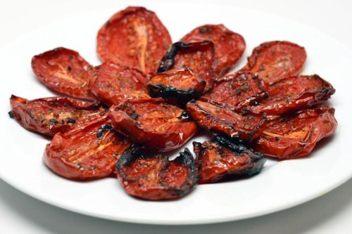 Great with faux pasta recipes using spaghetti squash or julienned zucchini. :: oven-roasted tomatoes