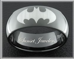 Black Tungsten Batman Ring Wedding Ring. Rob will love this!! Have to get it. Lol
