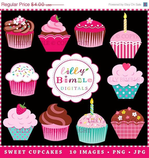 50% off SWEET CUPCAKES clipart for invitations, birthdays, scrapbooking cupcake clip art Instant Download