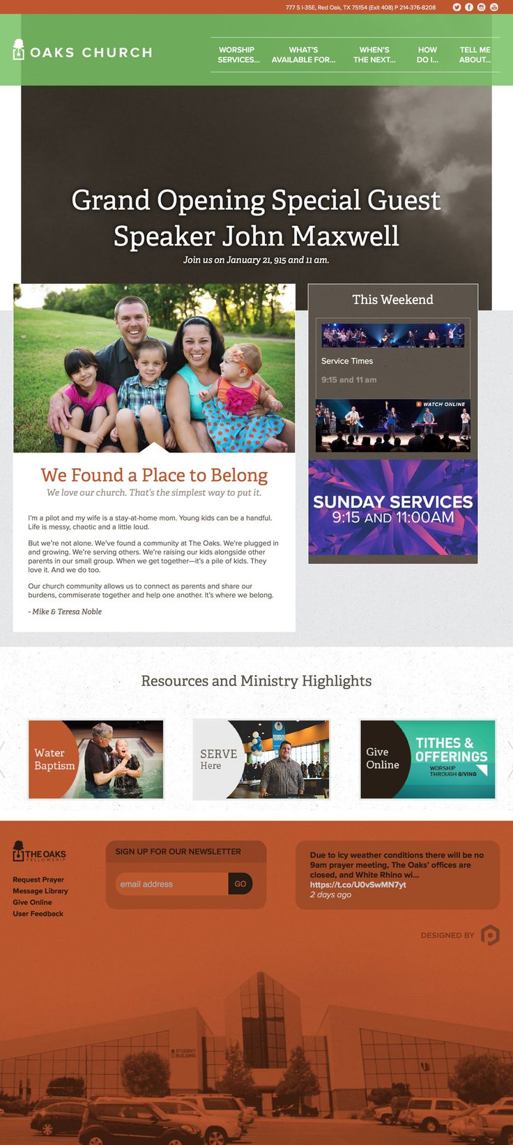 Love the fat #footer with the image of the #church building in the colored background. The message is compelling #green #brown #gray