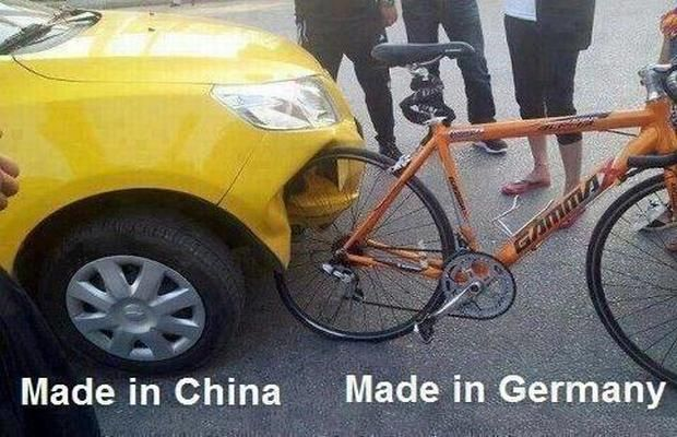 Car & bike - Made in China versus Made in Germany car humor funny http://www.fiz-x.com/funny-car-memes/