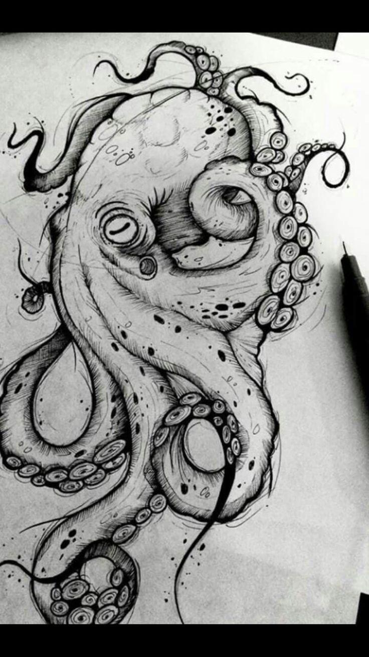 Kraken-Entwurfs-Kraken-Tätowierungs-Kraken-Schwarzweiss-Entwurfs-Seehintergrund
