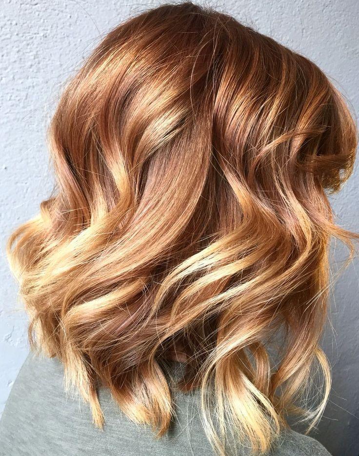 Kupferrot Strähnen auf blonde Haare #balayage #rot # ...