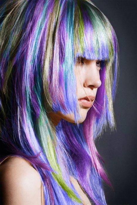 purple hair, green hair, blue hair, pastel hair