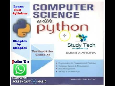 Class 11 Computer Science With Python Sumita Arora Book