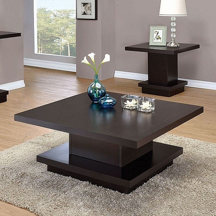 Cappuccino Square Modern Wood Coffee Table Furniture 35.5 x 35.5 x 16.25 Inches #CoasterCompany #Modern