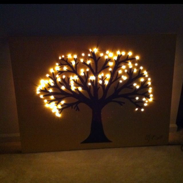 Old paint + Christmas tree lights + 50%off canvas from Michaels = my awesome loft art piece