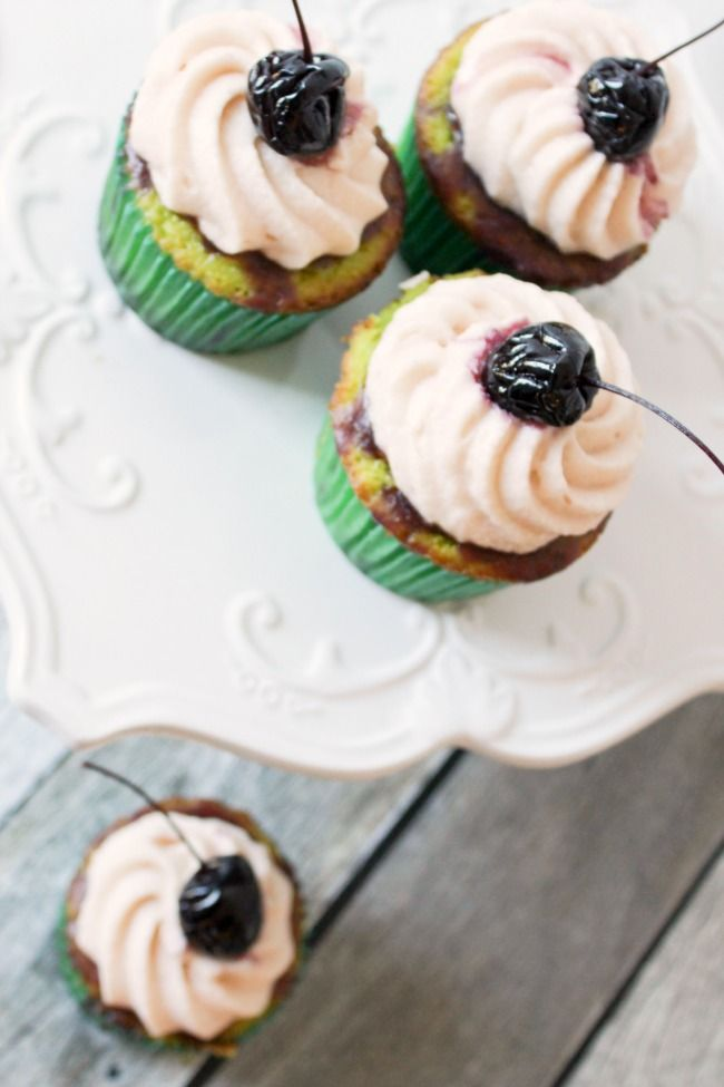 Cherry Limeade Cupcakes - sweet, subtle lime cake meets cherry curd in this bakers' confectionery take on a cherry limeade.