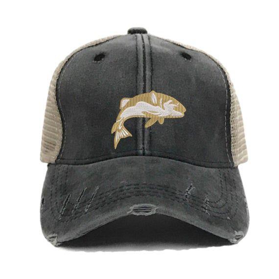Fishing Hat Custom Distressed Fishing Trucker Hats For Men Etsy Hats For Men Mens Trucker Hat Custom Trucker Hats