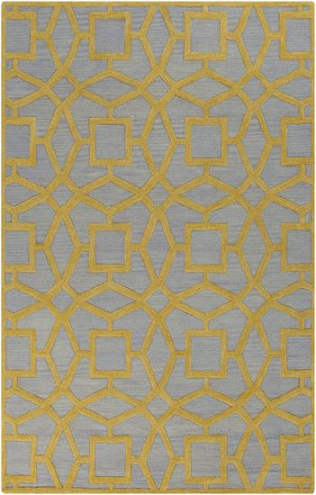 Low pile slate blue with high pile yellow makes for a dramatic geometric patterned wool rug from the Dream Collection by Surya. (DST-1173)