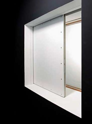 recessed sliding shutter model made of meg laminated wood with a tubular steel