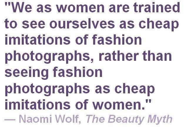 the beauty myth by naomi wolf essay Alongside the evident progress of the women's movement, however, writer and journalist naomi wolf is troubled by a different kind of social control, which, she argues, may prove just as restrictive as the traditional image of homemaker and wife it's the beauty myth, an obsession with physical perfection that.