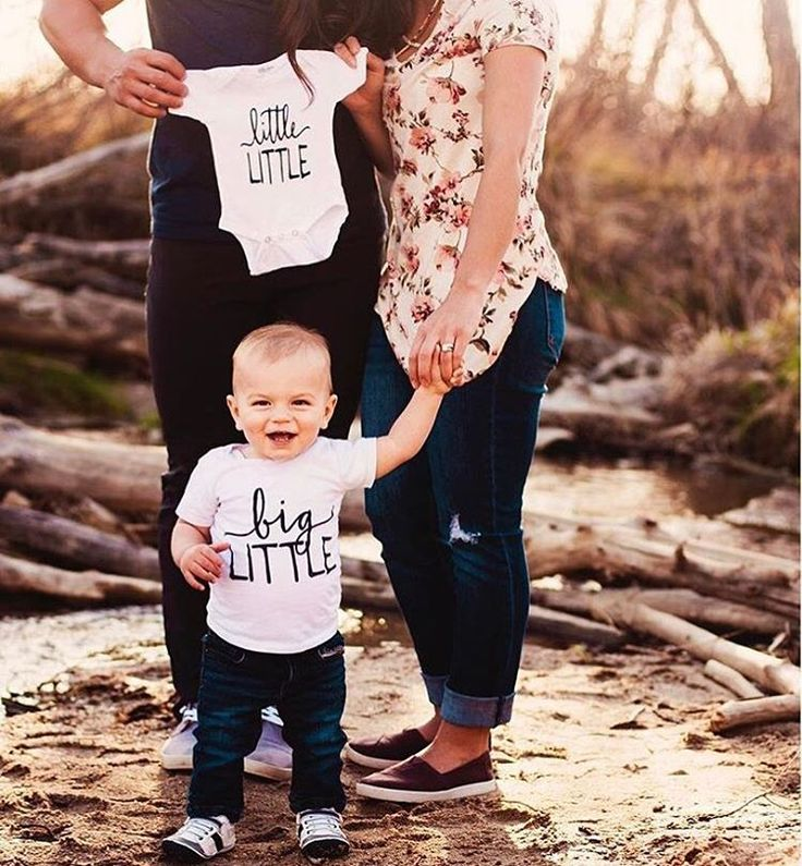 Little Faces Apparel - baby announcement onesie. Little little onesie, and big little kid's tee. Matching sibling shirts, big brother shirt, big brother announcement, baby announcement ideas, pregnancy announcement.