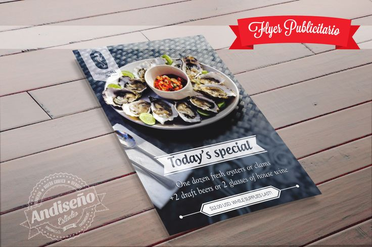 Diseño de flyer publicitario para Marina Grill Bar. Consultas al correo info@andiseno.com | www.andiseno.com   #Flyer #diseñografico