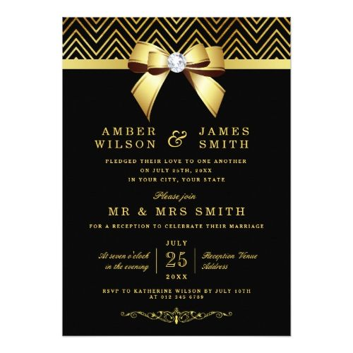 Black Gold Chevrons Bow Wedding Reception Only Card
