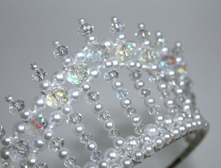 Crystal AB and Pearl Diva Tiara Princess Tiara by CreativeCalling1