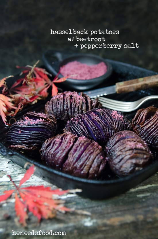 Hasselback potatoes with beetroot + pepperberry salt