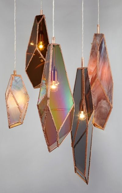 O M G!!! These are so awesome! Light fixtures like agate slices or iridescent glass, shaped like crystal formations!