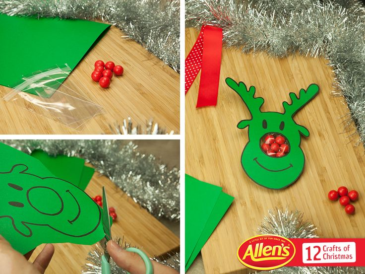 Red ALLEN'S lollies look great as Rudolph noses! It's a crafty way to share Christmas fun. Here we've used JAFFAS, but we think red JELLY TOTS would work too.