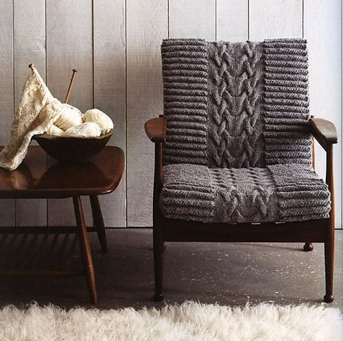 Cable knit chair cover Mad sweet envy.
