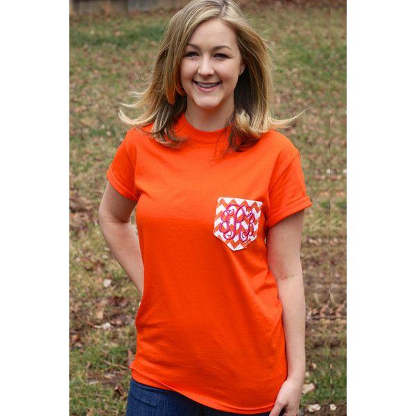 Orange With Orange Chevron Monogrammed Pocket T-Shirt... ($25) ❤ liked on Polyvore featuring tops, t-shirts, black, women's clothing, bridal t shirts, bridal party tees, unisex t shirts, t shirts and monogram pocket tee