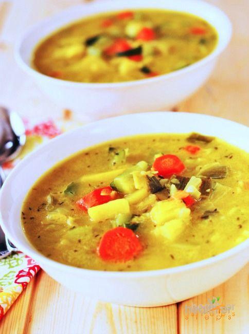 Potato Leek  Carrot and Zucchini Soup  Vegan
