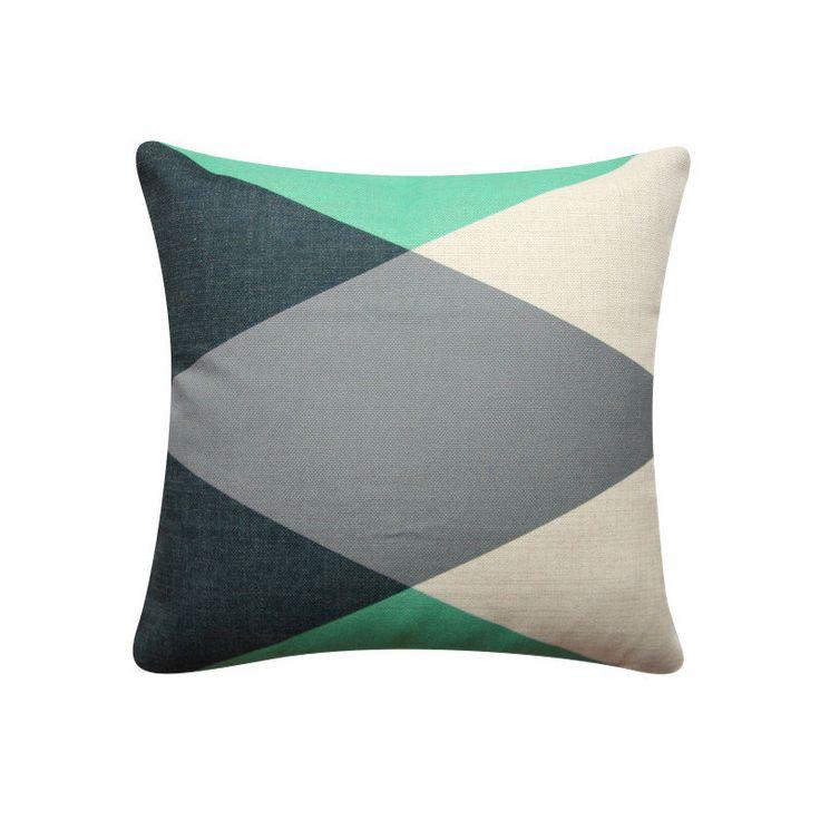 "Green Geometric Diamond Pillow Cover, 18""x 18"" Cushion Cover, Geometric Cushion, Emerald Green, Minimalist Cushion Tribal Cushion 324 by BeadandReel on Etsy https://www.etsy.com/listing/482259718/green-geometric-diamond-pillow-cover-18x"