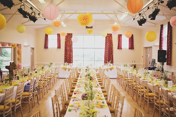 A Delightfully Bright And Yellow Handmade Diy Village Hall Wedding Reception Decor Pinterest Blog Decorations