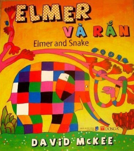 """Elmer and Snake Vietnamese/English Children's Bilingual Book by VietnameseArtwork.com. $8.99. This item is handpicked and guaranteed to arrive in pristine condition.. 8.5""""x11"""". Fair trade certified by the Fair Trade Federation.. Book by David Mc Kee  Bilingual board book in English and Vietnamese.  Recommend for Toddlers and Preschoolers"""