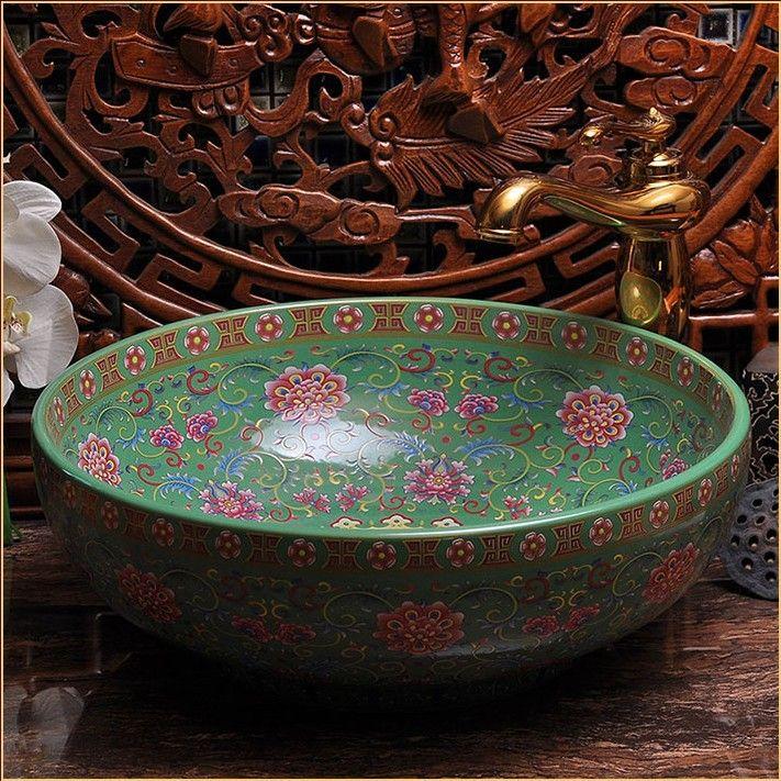Europe Vintage Style Hand Painting Art Porcelain Green Countertop Basin Sink  Handmade Ceramic Bathroom Vessel Sinks