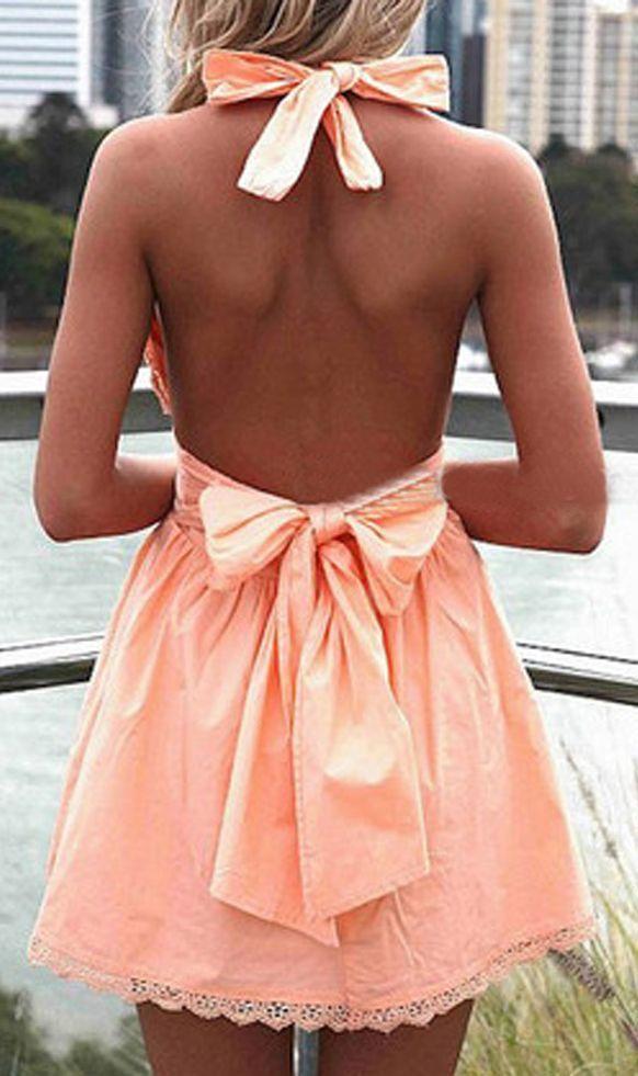 Peach Pink Bowknot Front Lace Hem Halter Skater Dress