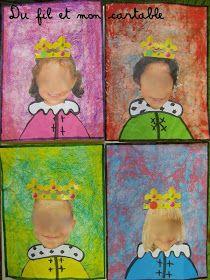 Du fil et mon cartable : Portraits de Rois et Reines - Technique du pastel craquelé