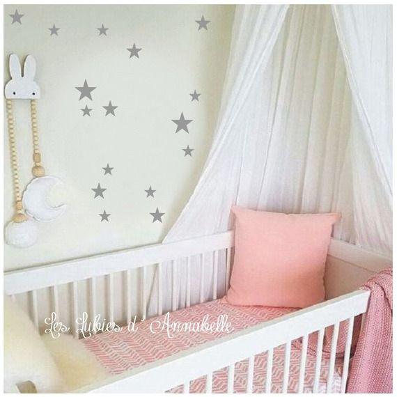Stickers étoiles grises décoration de chambre enfant