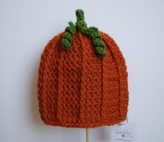 Baby Pumpkin Hat Baby Halloween Hat Pumpkin by FogBayCrochetbyViki