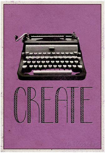 Criar, máquina de datilografia retrô, pôster da impressão artística poster