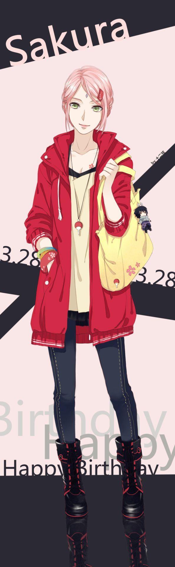 Sakura ヽ(*≧ω≦)ノ (OMG she has a Sasuke keychain!! So freakin' cute.)