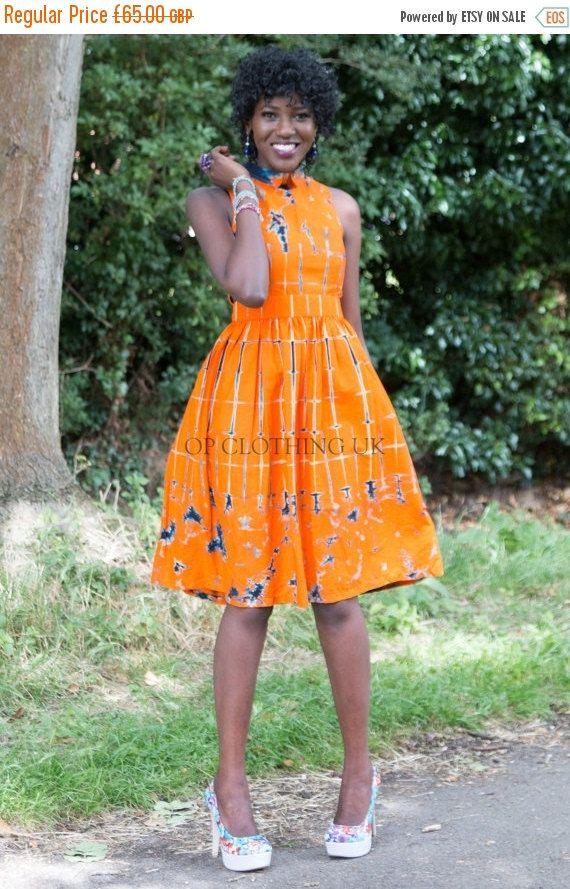 Tye Dye African dress, Short African dress, Office African dress, Casual dress, Cotton African dress