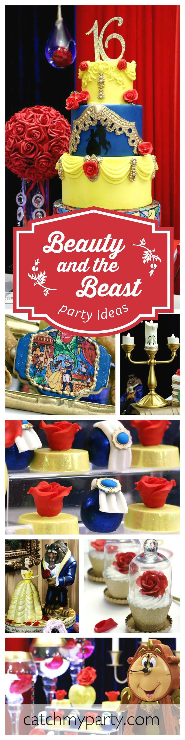 A beautiful Beauty and the Beast 16 birthday party fit for a princess! Just love the elegant cupcakes!! See more party ideas at http://CatchMyParty.com